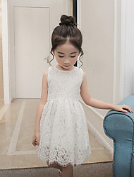 cheap -Girl's Daily Solid Dress,Cotton Rayon Summer Sleeveless Lace White Red Blushing Pink Light Blue