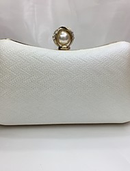 Women Bags All Seasons PU Evening Bag with Imitation Pearl for Wedding Event/Party Gold White Black Silver Coffee