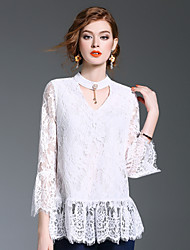 XSSL Women's Going out Casual/Daily Cute Spring Summer ShirtPrint Round Neck Long Sleeve Polyester Medium