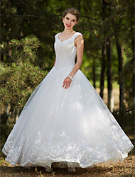 cheap -Ball Gown V Neck Floor Length Tulle Custom Wedding Dresses with Crystal Beading Sequin Appliques by LAN TING BRIDE®