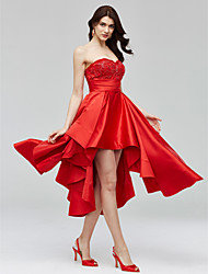 A-Line Sweetheart Asymmetrical Satin Cocktail Party Homecoming Dress with Beading Appliques Sash / Ribbon Ruching by TS Couture®