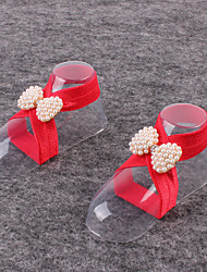 cheap -Kids Fabric Plastic Baby Pearl Shoes Handmade Flowers One Pair Feet Foot Chains Anklets