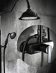 Antique Centerset Rain Shower with  Ceramic Valve Single Handle Three Holes for  Oil-rubbed Bronze , Shower Faucet