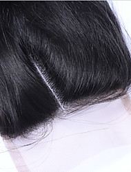 cheap -Classic Straight 4x4 Closure Swiss Lace Human Hair Free Part Middle Part 3 Part High Quality Daily