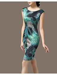 cheap -Women's Daily Sheath Dress,Print Round Neck Above Knee Sleeveless Polyester Summer Mid Rise Micro-elastic Medium