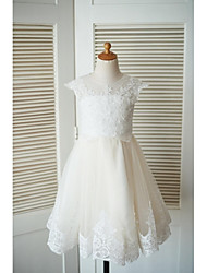 cheap -A-Line Knee Length Flower Girl Dress - Lace Tulle Short Sleeves Jewel Neck with Beading Buttons Lace by LAN TING BRIDE®