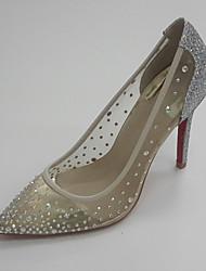 Women's Wedding Shoes Summer Fall Club Shoes Glitter Tulle Wedding Party & Evening Dress Stiletto Heel Rhinestone Gold