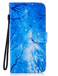 cheap -For Samsung Galaxy S8 Plus S8 Case Cover Blue Woods Pattern Painted Card Stent PU Material Phone Case S7 Edge S7 S6 S5