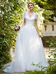 A-Line V-neck Sweep / Brush Train Tulle Wedding Dress with Appliques by HQY