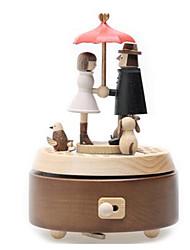 cheap -Jeancard Music Box Circular Gift Rotating Kid's Adults Kids Gift Wood Unisex