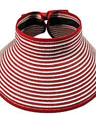 Striped Beach Empty Top Folding Straw Hats Beach Outdoor Tourism Wide Brim Hawaii Sun Hat