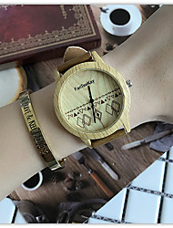 cheap -Women's Quartz Wrist Watch Chinese / Wooden Leather Band Casual Unique Creative Watch Wood Cool Black Brown Khaki
