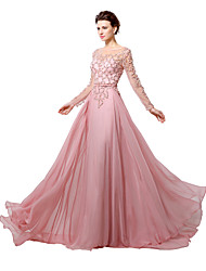 A-Line Illusion Neckline Floor Length Chiffon Formal Evening Dress with Beading by Sarahbridal