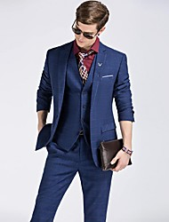 cheap -Royal Blue Solid Slim Fit Polyester Viscose Suit - Notch Single Breasted One-button