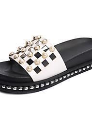 Women's Sandals Comfort PU Summer Casual Comfort Beading Hollow-out Flat Heel White Black Light Purple Flat