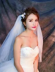 Hochzeitsschleier Vier-Schichten Ellbogenlange Schleier Fingerspitzenlange Schleier Schnittkante Tüll