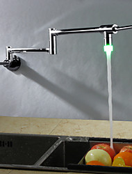 Contemporain Décoration artistique/Rétro Moderne Débit Normal Grand / Haut Arc Pot Filler Montage mural LED Thermostatique Pivotant with