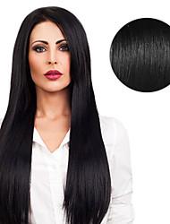 Недорогие -На ленте Расширения человеческих волос Прямой Натуральные волосы Черный как смоль