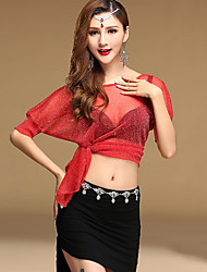 cheap -Belly Dance Outfits Women's Performance Spandex Pleated 2 Pieces Half Sleeve Natural Top Skirt