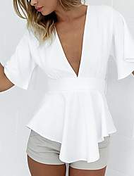 Women's Going out Beach Holiday Sexy Simple Cute All Seasons Summer Shirt,Solid V Neck ½ Length Sleeve Rayon Thin