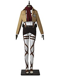 cheap -Inspired by Attack on Titan Mikasa Ackermann Anime Cosplay Costumes Cosplay Suits Solid Colored Long Sleeves Top Pants Apron Belt More