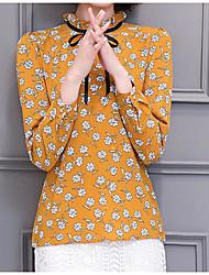 Feminino Blusa Para Noite Formal Férias Vintage Moda de Rua Primavera Verão,Sólido Estampado Outros Gola Redonda Manga Longa Fina