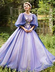 Robe de Soirée Princesse Illusion Neckline Longueur Sol Tulle Soirée Formel Robe avec Billes Appliques Fleur(s) Bandeau par Huaxirenjiao