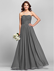 cheap -A-Line Strapless Floor Length Chiffon Bridesmaid Dress with Side Draping / Ruched by LAN TING BRIDE®
