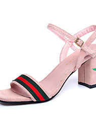 cheap -Women's Sandals Spring Summer Club Shoes Gladiator Embroidery Vintage All Match Grace Comfort Suede Party & Evening Dress Casual Chunky Heel Buckle