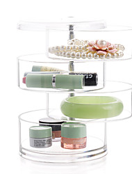 cheap -4 Layer Rotatable Cylinder Large Capacity Makeup Jewelry Storage Cosmetic Organizer Jewelry Display Box
