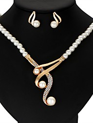 cheap -Women's Jewelry Set Imitation Pearl Ribbons Wedding Party Anniversary Gift Casual Valentine Alloy Crown 1 Necklace 1 Pair of Earrings