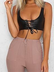 cheap -Women's Beach Club Sexy Summer Tank Top,Solid Round Neck Sleeveless Polyester Medium