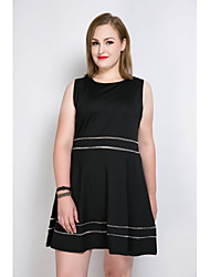cheap -Really Love Women's Party Daily Plus Size Cute Casual Sexy A Line Loose Skater Dress,Color Block Round Neck Knee-length Sleeveless Cotton Polyester