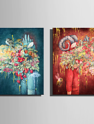 E-HOME Stretched Canvas Art Abstract Flowers And Animals Decoration Painting One Pcs