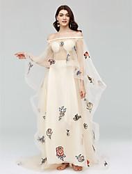 Linha A Ilusão Decote Cauda Corte Tule Evento Formal Vestido com Apliques Faixa de Huaxirenjiao