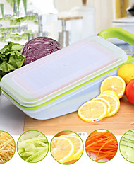Vegetable Fruit Slicers Cutter Adjustable Stainless Steel Blades Multi-Function Abs Peeler Grater Slicer Box Random  Color