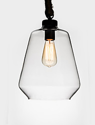 cheap -Retro Industrial Creative Glass with Hemp Rope Pendant Lamp for the Bedroom / Dining Room / Bar / Coffee Room Decorate Metal Drop Light
