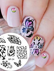 preiswerte -Romantische Schmetterling Muster Nagel Kunst Stempel Vorlage Bild Platte Nagel Stanzplatte geboren ziemlich bp34