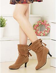 Women's Boots Fall Winter Comfort Leatherette Dress Kitten Heel Bowknot Walking