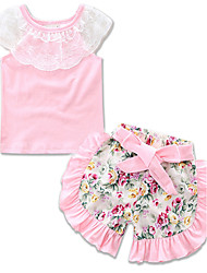 cheap -Girls' Daily Going out Holiday Floral Clothing Set, Cotton Summer Short Sleeves Floral Dresswear Lace Blushing Pink