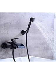cheap -Bathtub Faucet - Contemporary Oil-rubbed Bronze Centerset Ceramic Valve
