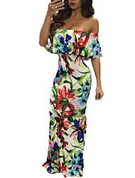 Balançoire Robe Femme Soirée / Cocktail Sexy,Imprimé Bateau Maxi Manches Courtes Polyester Spandex Eté Taille Haute Elastique Moyen