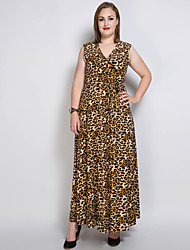 cheap -Women's Plus Size Loose Shift Swing Dress - Solid Leopard Maxi V Neck