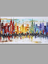 cheap -New York City Night Scenery Picture Canvas Handpainted Oil Painting American Wall Art With Stretched Frame Ready to Hang