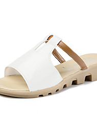 cheap -Women's Sandals Comfort Slouch boots PU Summer Casual Walking Comfort Slouch boots Flat Heel White Black Beige Blue Blushing Pink Flat