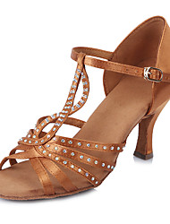 New Brand Modern Women's Dance Shoes  Heeled shoes Latin Sandals  Satin /crystal/Black/Brown Customizable