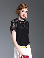XSSL Women's Going out Casual/Daily Cute Spring Summer ShirtPrint Round Neck Short Sleeve Silk Medium