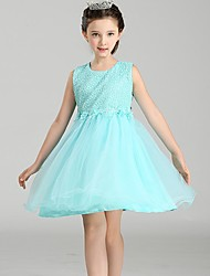 Ball Gown Short / Mini Flower Girl Dress - Polyester Satin Tulle Sleeveless Jewel Neck with Flower by YDN