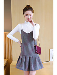 Women's Going out Casual/Daily Simple Sweater Dress Suits,Striped Crew Neck Long Sleeve Inelastic