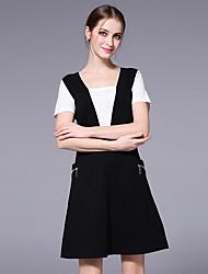 Damen Muster Street Schick Lässig/Alltäglich Party/Cocktail T-Shirt-Ärmel Kleid Anzüge,Rundhalsausschnitt Kurzarm strenchy